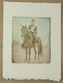 Lynn Woodward intaglio print: Warrior Intent